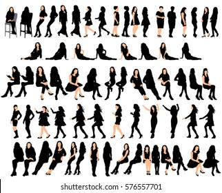 vector, isolated collection of silhouettes woman, standing, sitting,