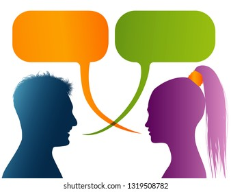 Vector isolated Colored profile silhouette with speech bubble. Talking between a man and a woman. Dialogue - discussion - chat communication between couple or people