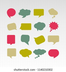 vector isolated colorful big speech bubbles set