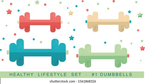 Vector isolated colorful dumbbells illustration, in vintage retro colors teal beige mint coral minimalistic flat style, with stars and dots, cute pastel feminine style fitness icons