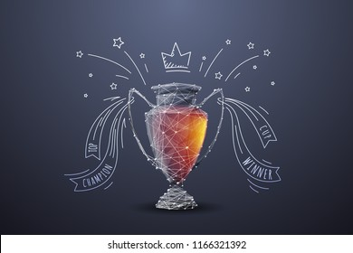 Vector isolated colorful football cup. Low poly wireframe and points. Polygonal 3D white attraction concept on dark background. Geometry triangle. Abstract sports mash line origami