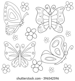 vector , isolated Coloring book butterfly