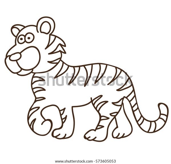 Vector Isolated Coloring Book Tiger Kids Stock Vector