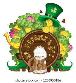 Vector isolated composition for St. Patrick's day for banner, card or poster. Transparent background