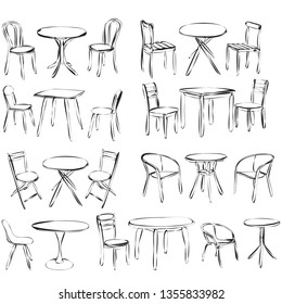 vector, isolated, contour, sketch table and chair, set