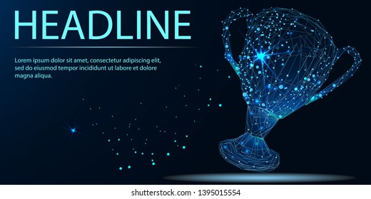 Vector isolated cup. Low poly wireframe and points. Polygonal 3D concept on dark background. Geometry triangle. Headline