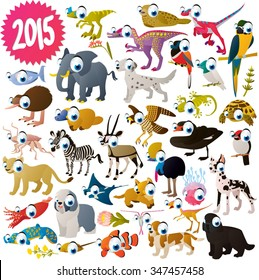 vector isolated cute cartoon funny collection set. African: dogs, sea life animals, birds and dinosaurs. For kids apps, books or illustration for nature lovers.