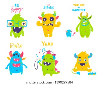 Vector isolated cute cartoon monsters