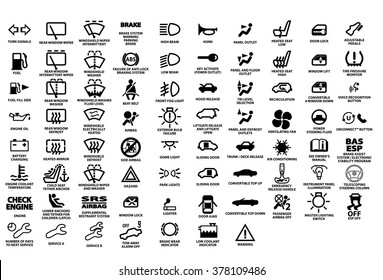 Vector isolated dashboard icons with description