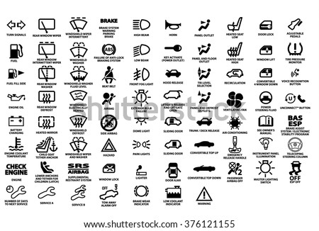 car indicator lights coloring pages | Vetor stock de Vector Isolated Dashboard Icons Description ...