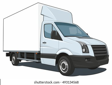 Vector isolated delivery truck on white background