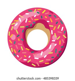 Vector Isolated donut. Vector modern flat geometric donuts on white background. For logo, sticker, label, icon or favicon. Glazed cool donuts with topping. Tasty pink sign for bakery menu.