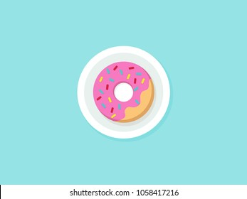 Vector Isolated donut on pla. Modern flat geometric donut on blue background. For logo, sticker, label, icon or favicon. Glazed cool donut with topping. Tasty pink sign for bakery menu.