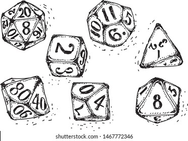 Vector isolated doodle dices, monochrome, hand drawn style