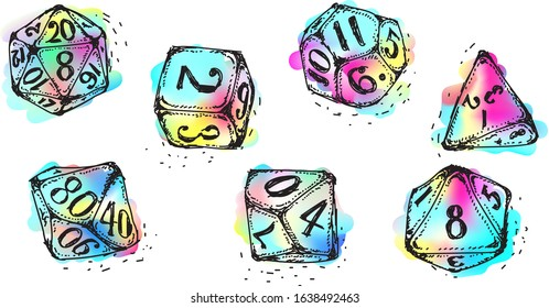 Vector isolated doodle dices, in watercolor pastel neon, multicolored hand drawn tattoo engraving style