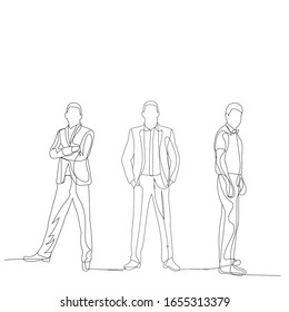 vector, isolated, drawing continuous line male businessman