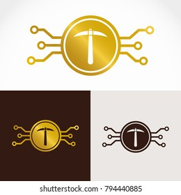 Vector isolated electronic cryptocurrency logo symbol. Electronic coin with  minig  pickaxe dumbbell in gold design - standard, inverse and monochrome version.