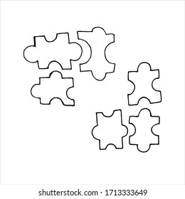 vector isolated element in doodle style, puzzle pieces, logic, coloring book