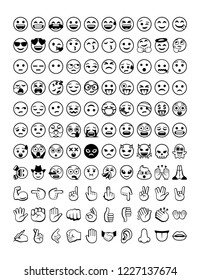 Vector isolated emoji set. All emoticons pack
