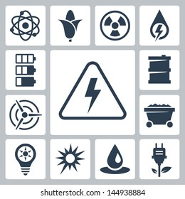 Vector isolated energy icons set
