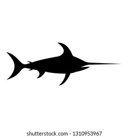 Vector, isolated, flat image of fish marlin on a white background