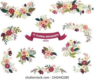 Vector isolated floral bouquet collection set - colorful illustrations, for wedding invitations, greetings, wallpapers, fashion, background.