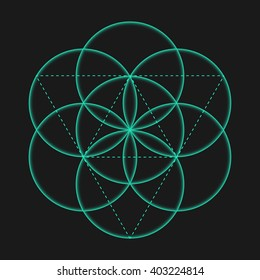 Vector isolated Flower of Life sign with circles. Metatron's Cube. Sacred Geometric glyph - Flower of life. Holy sacred symbol. Sacred Geometry