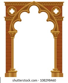 Vector isolated frame in form of the stone decorated gothic arch