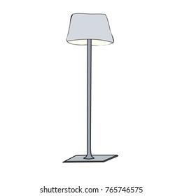 vector, isolated furniture floor lamp
