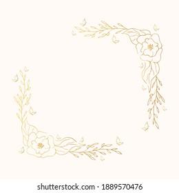 Vector isolated golden elegant flower border. Flourish square frame. Gold floral corner wreath for wedding card.