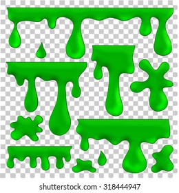 vector isolated green blots, splashes and smudges