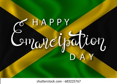 Vector isolated handwritten lettering for 1th August Emancipation Day in Jamaica on the realistic flag background. Vector calligraphy poster for greeting card and covering.