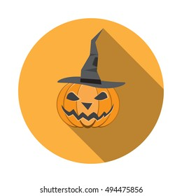 Vector isolated icon of halloween pumpkin in a witches hat in flat with shadow.