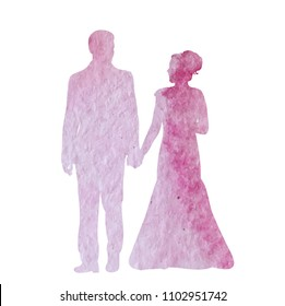 vector, isolated, icon, watercolor silhouette of the bride and groom