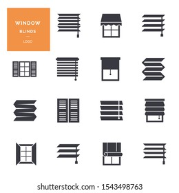 Vector isolated icons set of window blinds vector glyph icons. Interior design, home decor shop. Logotype collection.