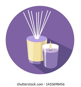 Vector isolated illustration of aromatherapy objects: aroma diffuser  with reed sticks and violet candle. Spa and beauty cozy home theme. Icon with shadow