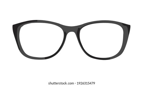 Vector Isolated Illustration of a black Glasses frame on a white background