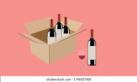 Vector isolated Illustration of a Box of Wine Bottles and a Glass of Wine