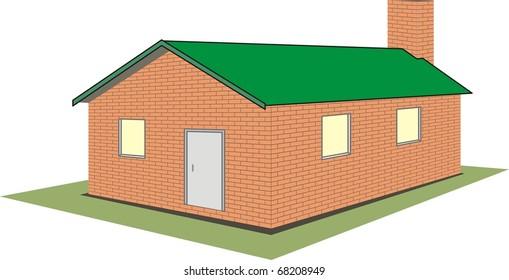 Vector  isolated illustration - brick house (cottage) on white background