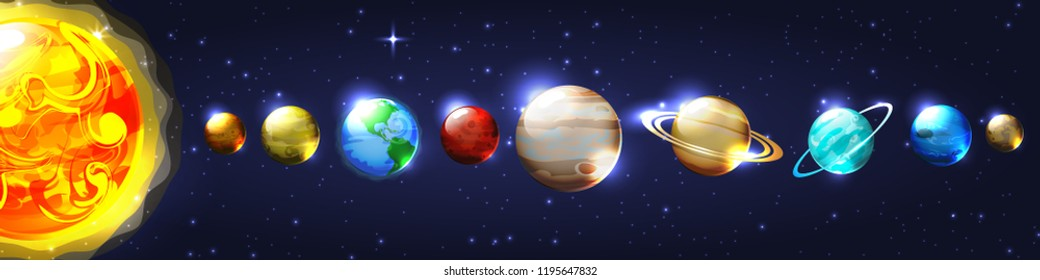 vector isolated illustration of bright colorful scientific model of solar sytem. cartoon glossy planet around the sun on open space. stars and celestial bodies