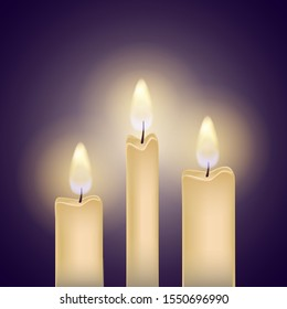 Vector isolated illustration of burning candles with realistic transparent flame. Soft light. Decoration for celebrations. Dark background