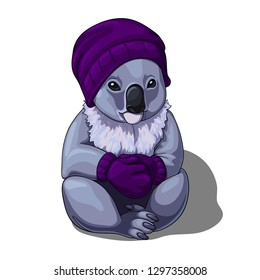 Vector isolated illustration of a cute coala wearing warm winter hat and mittens