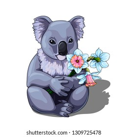 Vector isolated illustration of a cute coala holding bouquet of fresh flowers