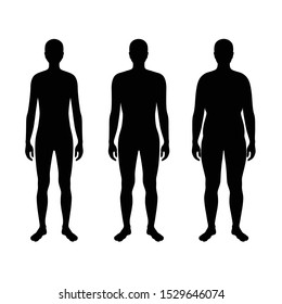 Vector isolated illustration of different figure shape man silhouette. Isolated black illustration