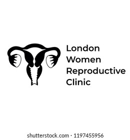 Vector isolated illustration of female reproductive system anatomy. Uterus, cervix, ovary, fallopian tube icon. Brand design template for woman medical center, hospital, clinic, diagnostic logo.