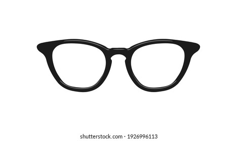 Vector Isolated Illustration of Glasses. Black glasses frame isolated illustration