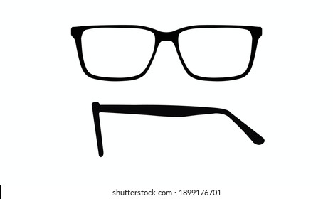 Vector isolated Illustration of a Glasses Frame. Black glasses Frame Front and Side View