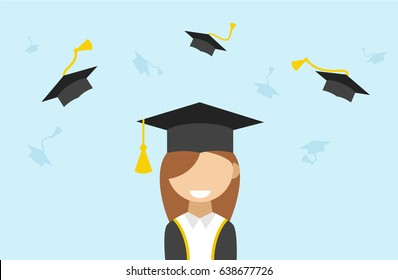 e9513c07521 Vector isolated illustration of Graduation ceremony with female student  character in Graduate mania . flying academic