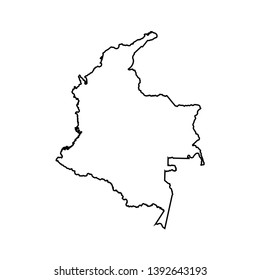 Vector isolated illustration icon with black line silhouette of simplified map of Colombia.