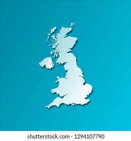 Vector isolated illustration icon with light blue silhouette of simplified map of The United Kingdom of Great Britain and Northern Ireland. Bright blue background with shadow